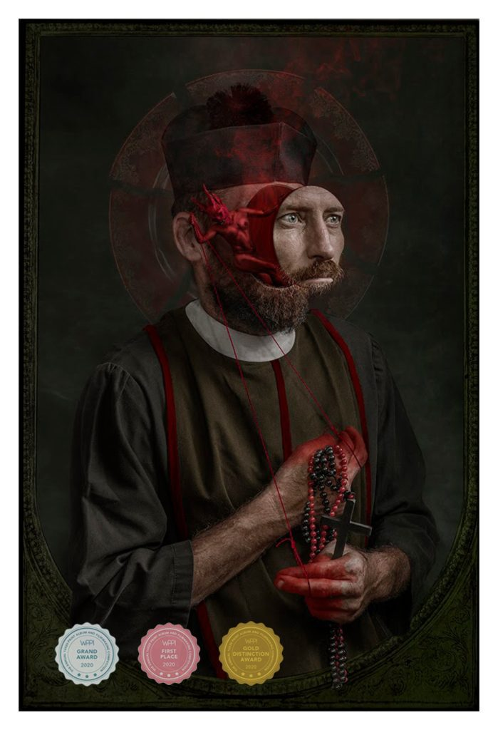 Richard Wood BIO WPPI Award Winning Image PRIEST with medal